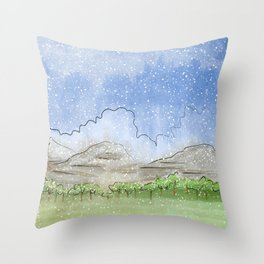 Snowy Watercolor Landscape Throw Pillow