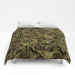 Black and gold ethnic paisley pattern Comforters