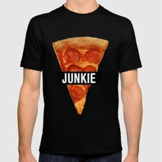 Pizza Junkie LARGE Black Mens Fitted Tee