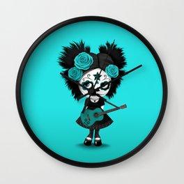 Teal Blue Big Eyes Sugar Skull Girl Playing the Guitar Wall Clock