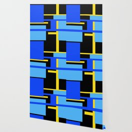 Rectangles - Blues, Yellow and Black Wallpaper