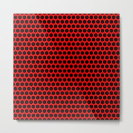 Polka / Dots - Black / Red - Large Metal Print