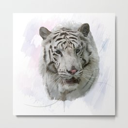 Digital Painting of White Tiger Metal Print