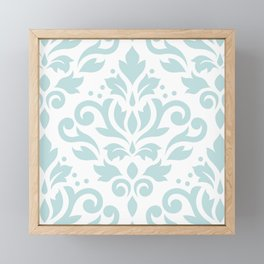 Scroll Damask Lg Pattern Duck Egg Blue on White Framed Mini Art Print