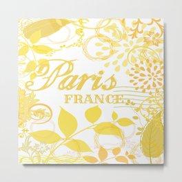 Paris France Yellow Vintage Print Metal Print