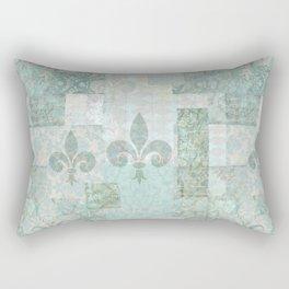 teal baroque vintage patchtwork Rectangular Pillow