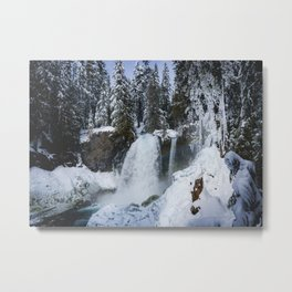 Winter Waterfall II - Pacific Northwest Nature Photography Metal Print