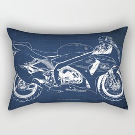 23-2013 Suzuki GSX-R1000 BLUE, Motorcycle blueprint Rectangular Pillow