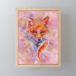Watercolor colorful Fox Framed Mini Art Print