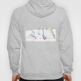 White rabbits dancing around red erica in snow mountain. Hoody