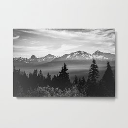 Morning in the Mountains Black and White Metal Print