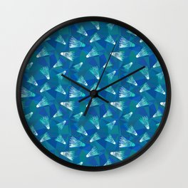 Badminton shuttlecocks seamless pattern Wall Clock