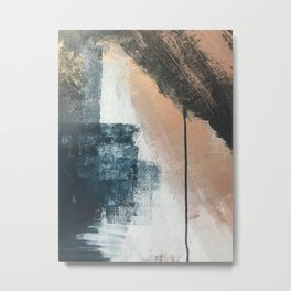 Honey 1: a pretty, minimal abstract in midnight blue, rose gold, and white Metal Print
