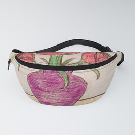 Three roses In a vase Fanny Pack