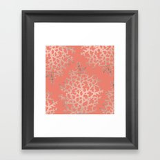 Faux rose gold coral sea hand drawn pattern salmon pattern Framed Art Print