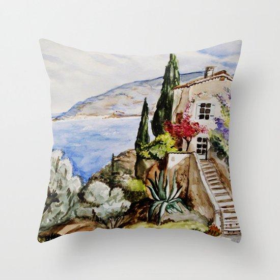 Èze Village Throw Pillow