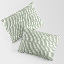 Abstract Stripes, Sage Green, Boho Wall Art Pillow Sham