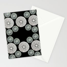 Silver and Black Mandala Circles Stationery Cards