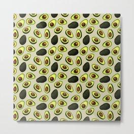 Dancing Millennial Avocados on Beige, Ditsy print Metal Print