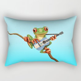 Tree Frog Playing Acoustic Guitar with Flag of Nicaragua Rectangular Pillow