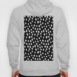 Handdrawn drops and dots on black - Mix & Match with Simplicty of life Hoody