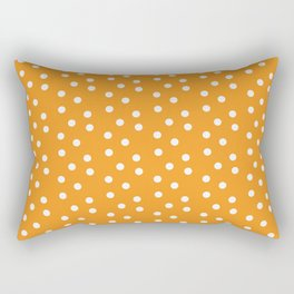 Orange and White Polka Dots Rectangular Pillow