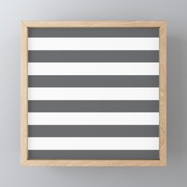 Simply Striped in Storm Gray and White Framed Mini Art Print