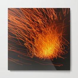 Golden Firework Metal Print