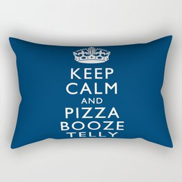 Keep Calm and Pizza Booze Telly Rectangular Pillow