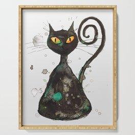 Black cat with orange eyes Serving Tray