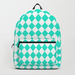 Aqua Gift Box Modern Diamond Pattern Backpack