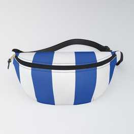 Dark Princess Blue and White Wide Vertical Cabana Tent Stripe Fanny Pack
