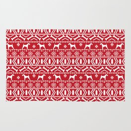 Airedale terrier fair isle silhouette christmas sweater red and white holiday dog gifts Rug