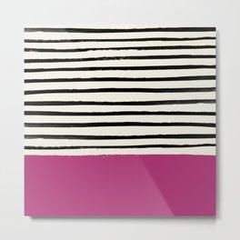 Raspberry x Stripes Metal Print