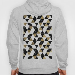 Modern Black, White, and Faux Gold Triangles Hoody