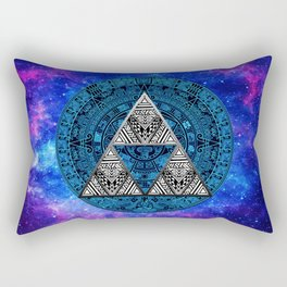 Triforce Circle With Blue Nebula Rectangular Pillow