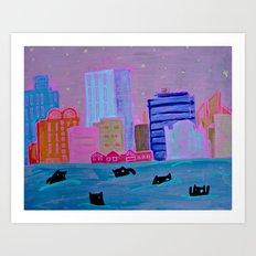 Harbour Monsters Art Print