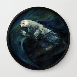 Polar Bear Swimming in Northern Lights Wall Clock
