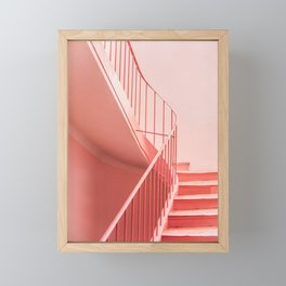 Pink steps | Pastel colored staircase in Cannes France | Travel architecture photography Framed Mini Art Print