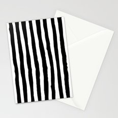 Black and White Vertical Stripes Stationery Cards