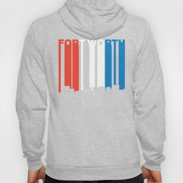 Red White And Blue Fort Worth Texas Skyline Hoody