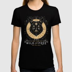 Wild & Free Wolf – Gold & Grey SMALL Black Womens Fitted Tee