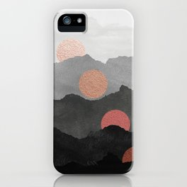 Abstract Mountains // Shades of Black and Grey Landscape Full Metallic Gold Moon iPhone Case