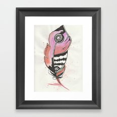 Pink and Orange Feather Framed Art Print