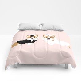 Corgi Bride and Groom - cute dog wedding, corgi wedding, dog, dogs, summer cute Comforters