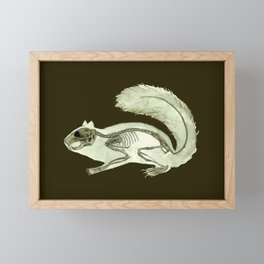Squirrel Skeleton: Animal Watercolor Anatomy Halloween Framed Mini Art Print