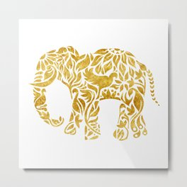Floral Elephant in Gold Metal Print