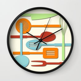 Kitchen Colored Utensil Silhouettes on Cream III Wall Clock
