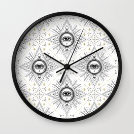 Sacred geometry seamless pattern with all seeing eye over white. Wall Clock