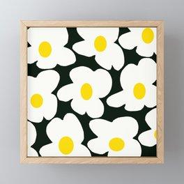 White Retro Flowers Black Background #decor #society6 #buyart Framed Mini Art Print
